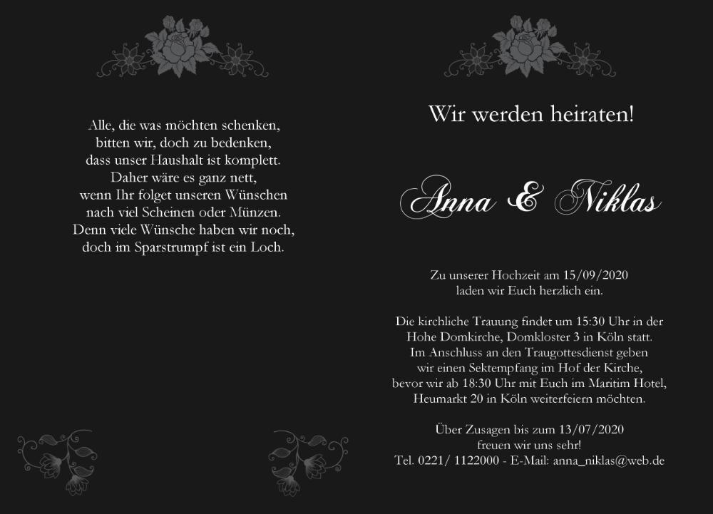 Klassische Rechteckige Hochzeitskarte Schwarz Grau